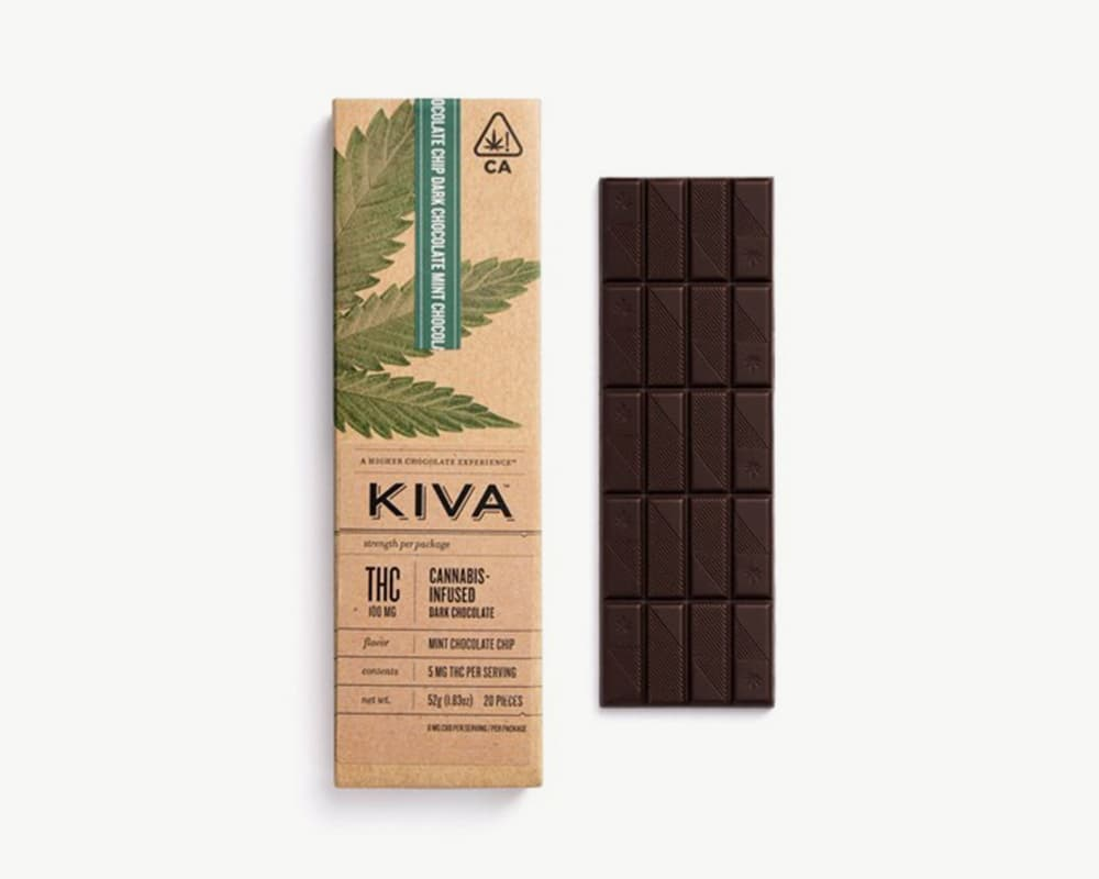 Dark Mint Chocolate Chip Bar edibles by Kiva | Splitbud Deals
